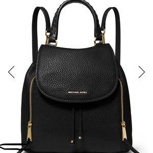 Michael Kors black leather backpack purse